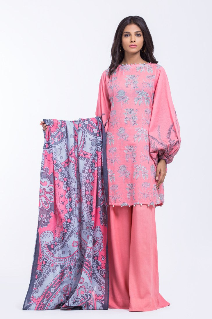 Alkaram Studio - Pink 3 Piece Printed Lawn Clearance Sale