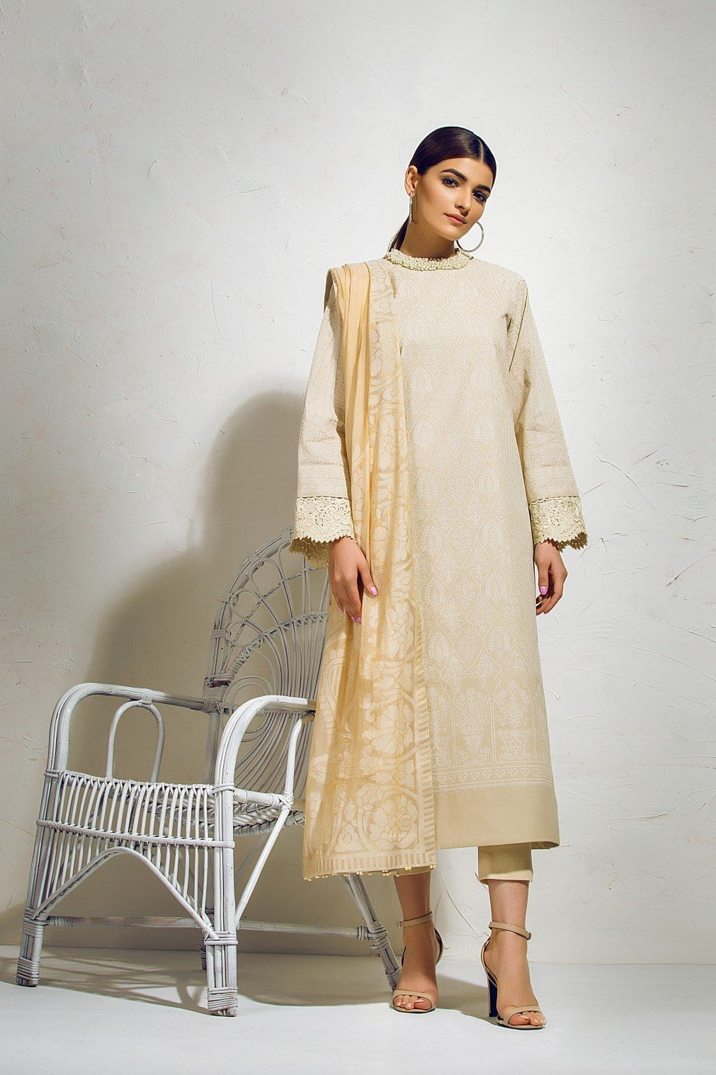 Alkaram Studio - Beige Slub Lawn Shirt with Fancy Dupatta