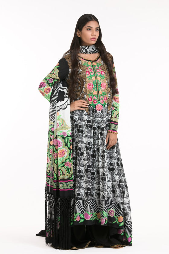 Alkaram Studio - Black 3 Piece Embroidered Lawn