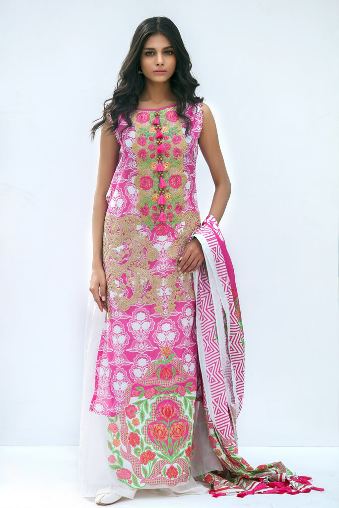 Alkaram Studio - Pink 3 Piece Embroidered Lawn