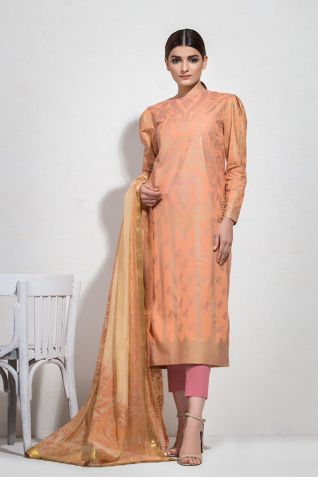 Alkaram Studio - Orange Slub Shirt with Fancy Dupatta