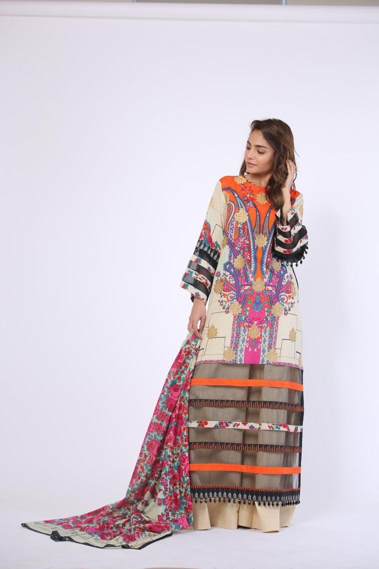 Alkaram Studio - Beige 2 Piece Printed Embroidered