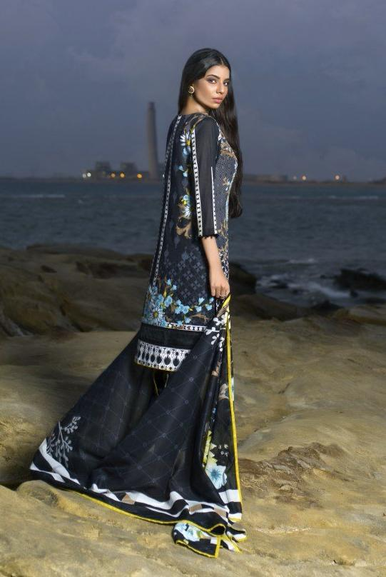 Alkaram Studio - Black 2 Piece Embroidered Lawn
