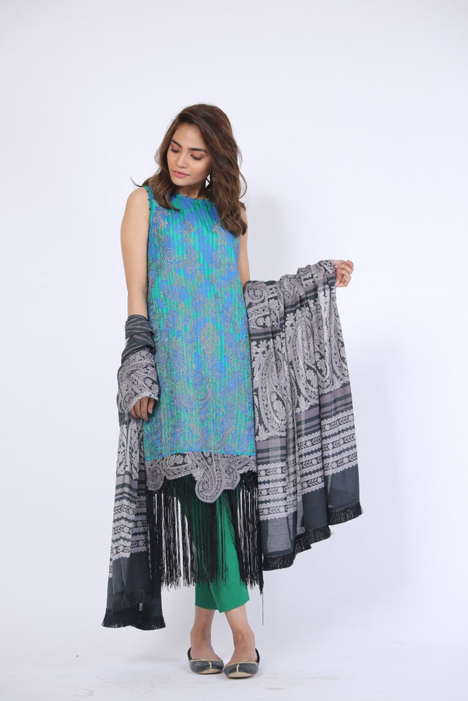 Alkaram Studio - Grey 3 Piece Printed Embroidered