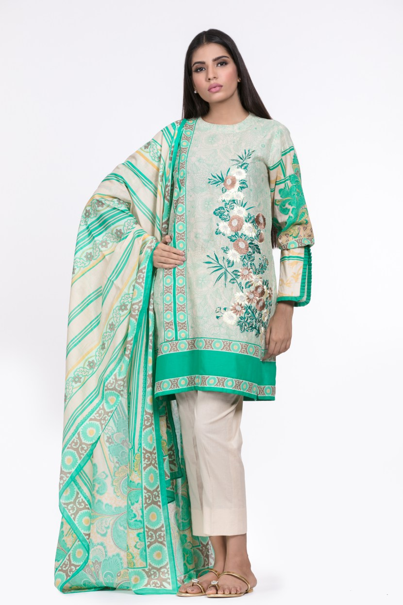 Alkaram Studio - Green 2 Piece Embroidered Lawn