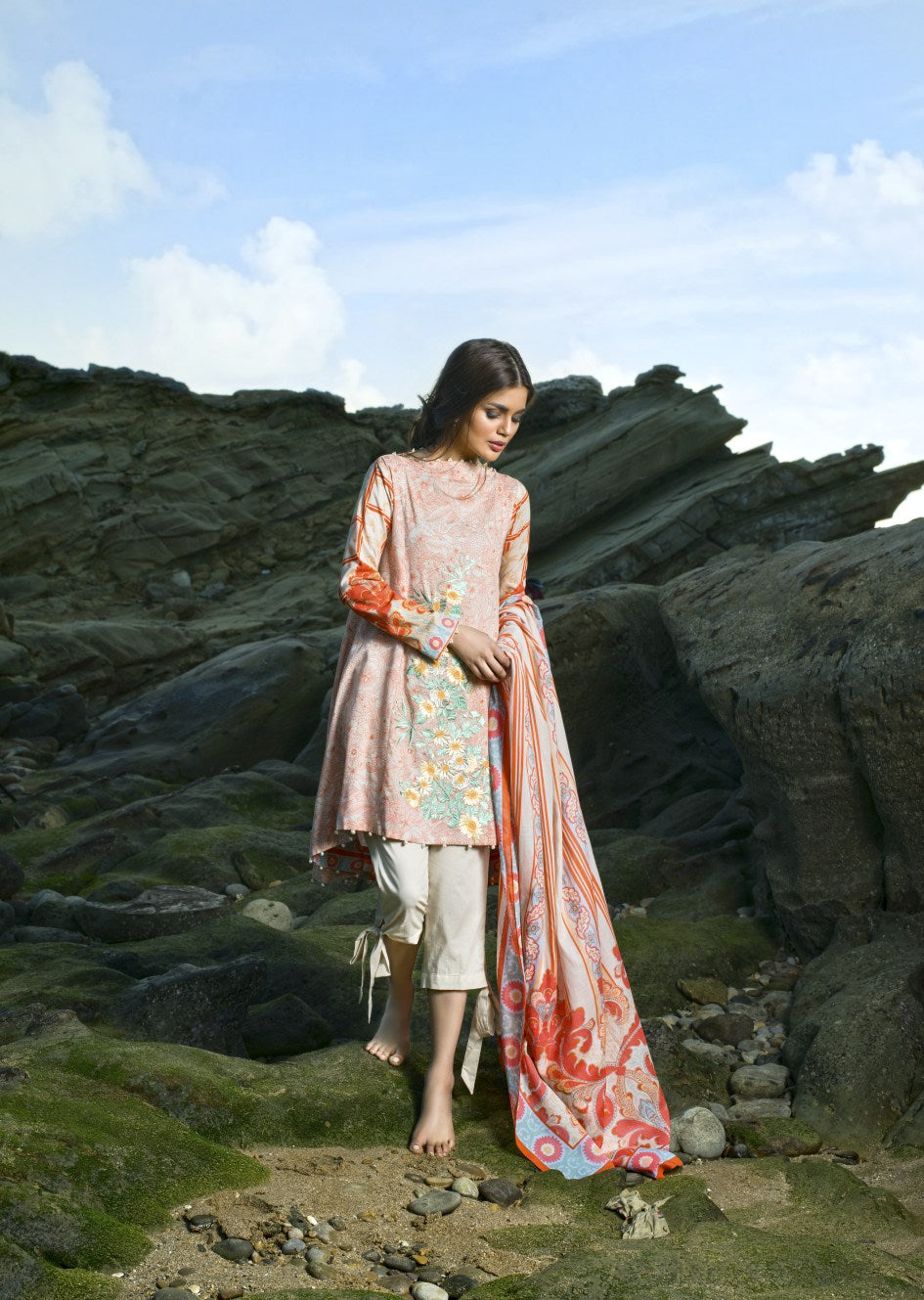 Alkaram Studio - Peach 2 Piece Embroidered Lawn