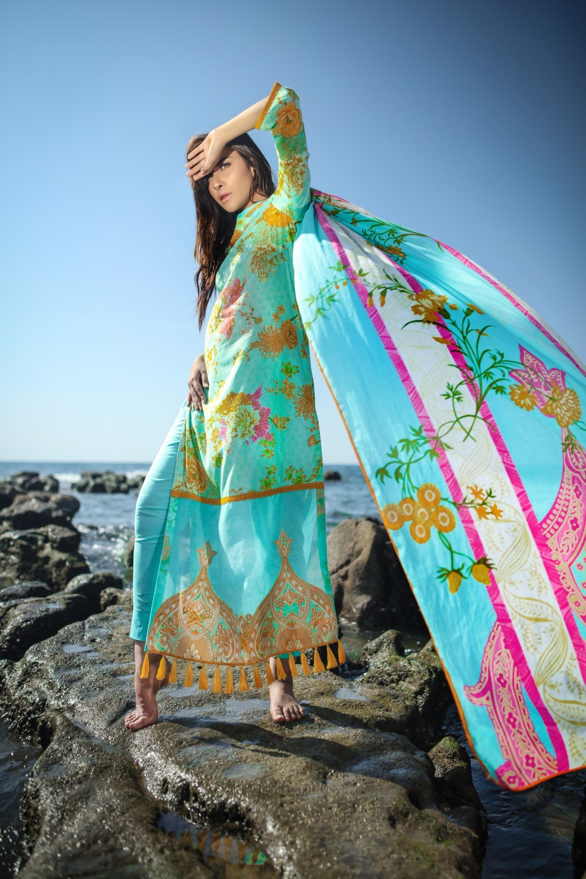 Alkaram Studio - Turquoise 2 Piece Embroidered Lawn