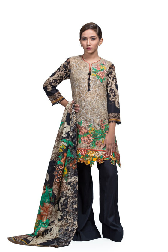 Alkaram Studio - Brown 2 Piece Printed Embroidered
