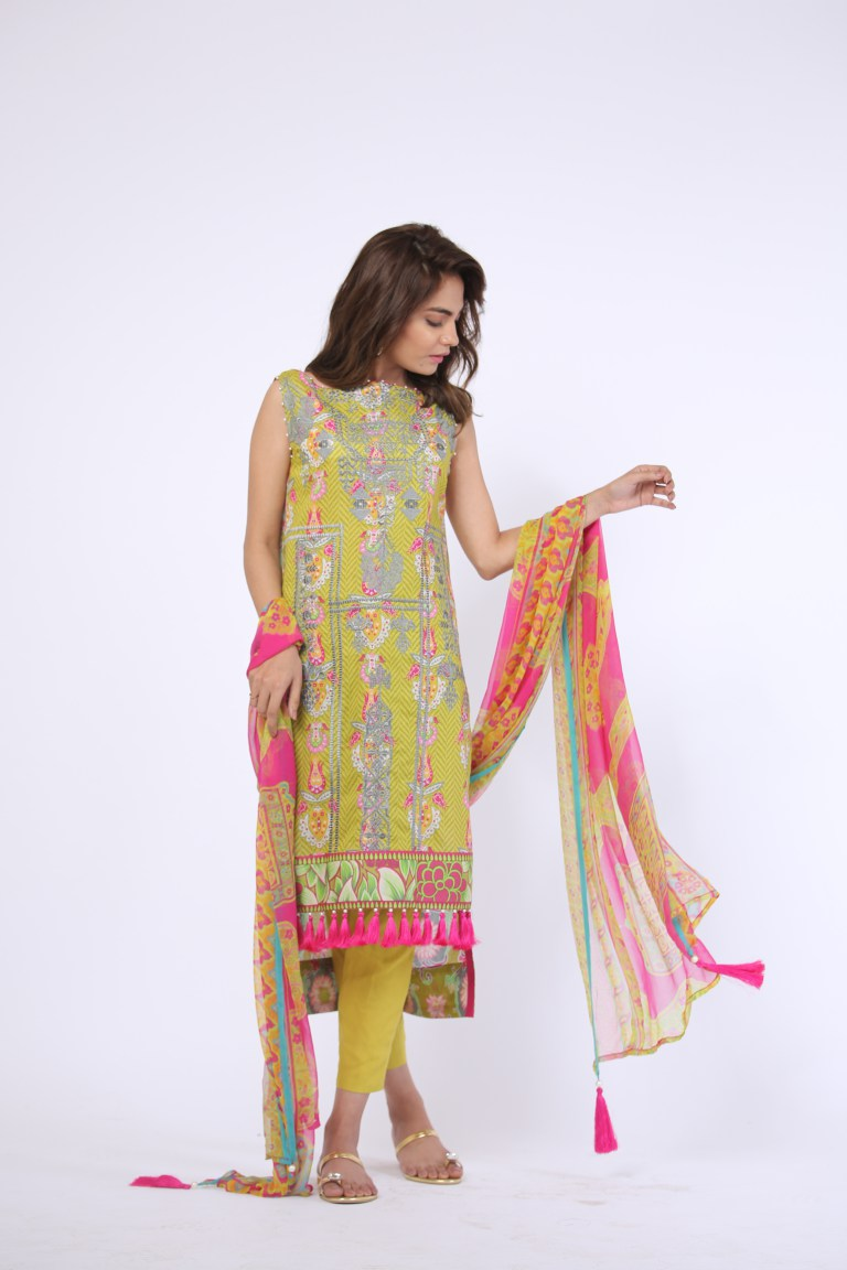 Alkaram Studio - Green 3 Piece Printed Embroidered