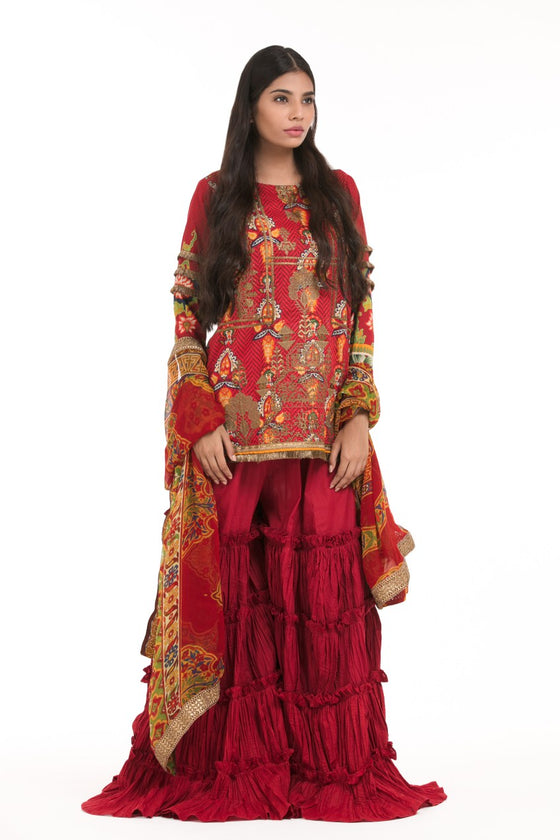 Alkaram Studio - Red 3 Piece Printed Embroidered