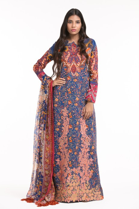 Alkaram Studio - Blue 3 Piece Printed Embroidered