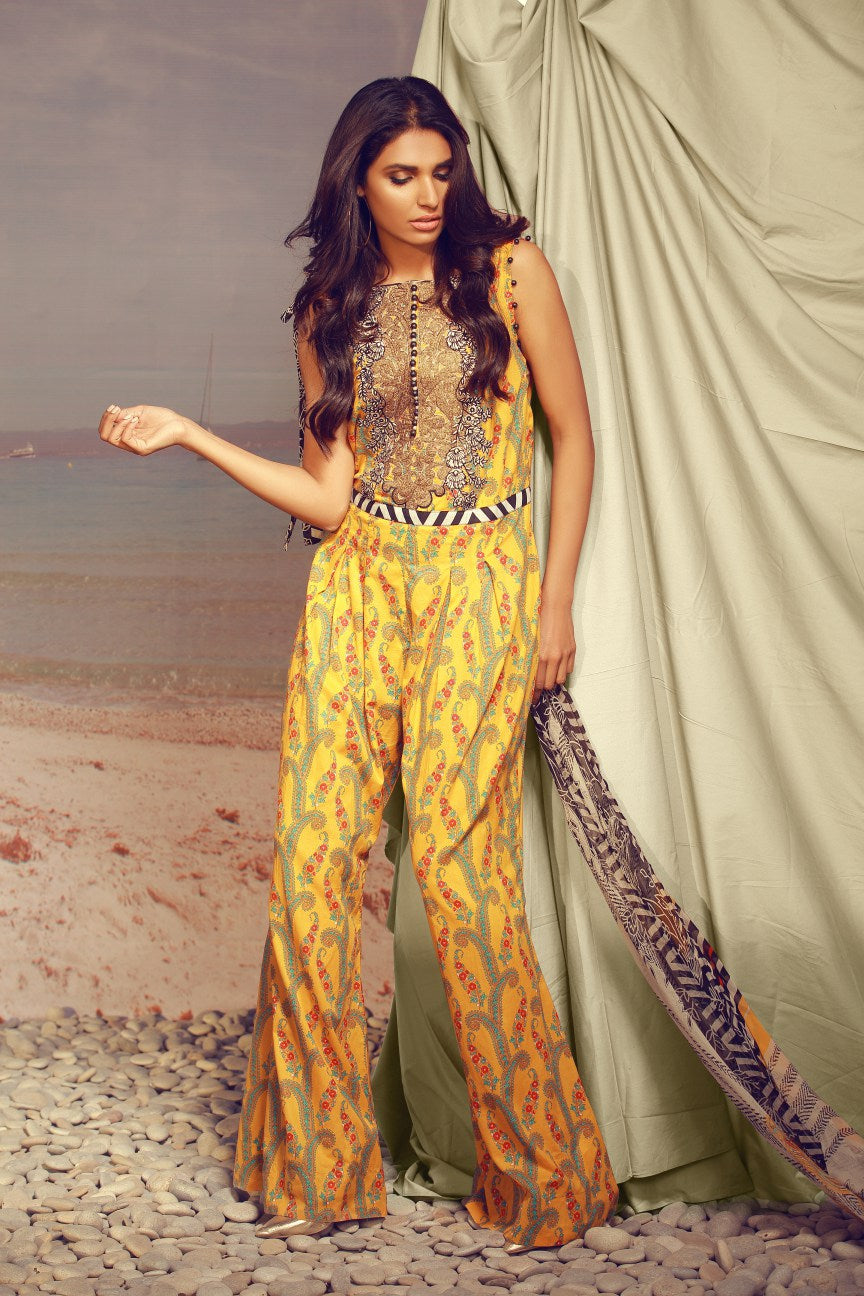 Alkaram Studio - Yellow 3 Piece Printed Lawn