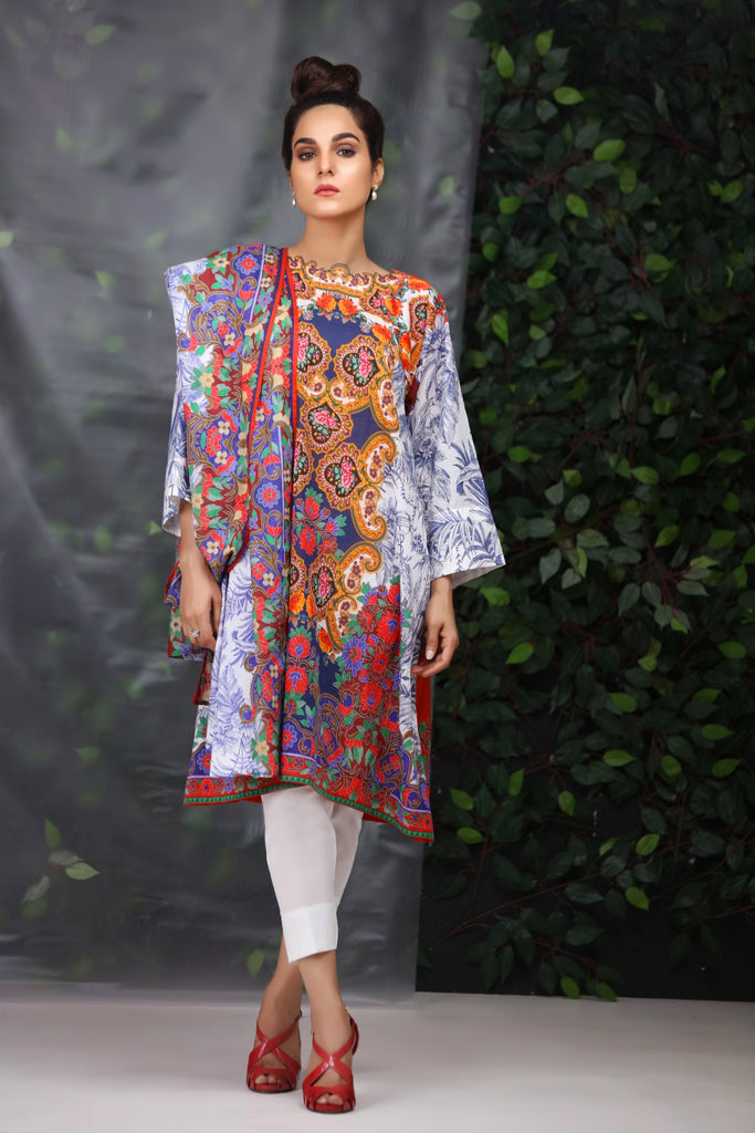 Alkaram Studio - Blue 3 Piece Lawn Suit Clearance Sale