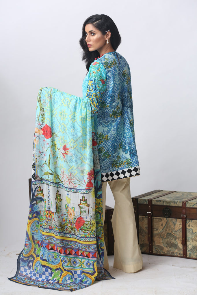 Alkaram Studio - Blue Embroidered Lawn Suit