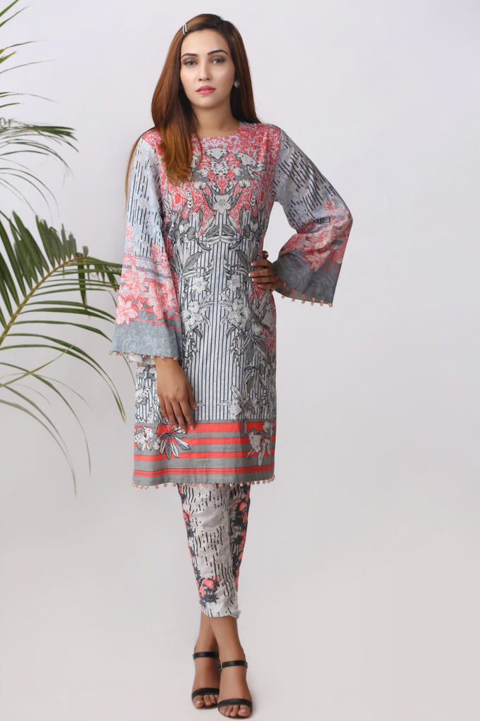 Alkaram Studio - Grey 2 Piece Embroidered Lawn Suit