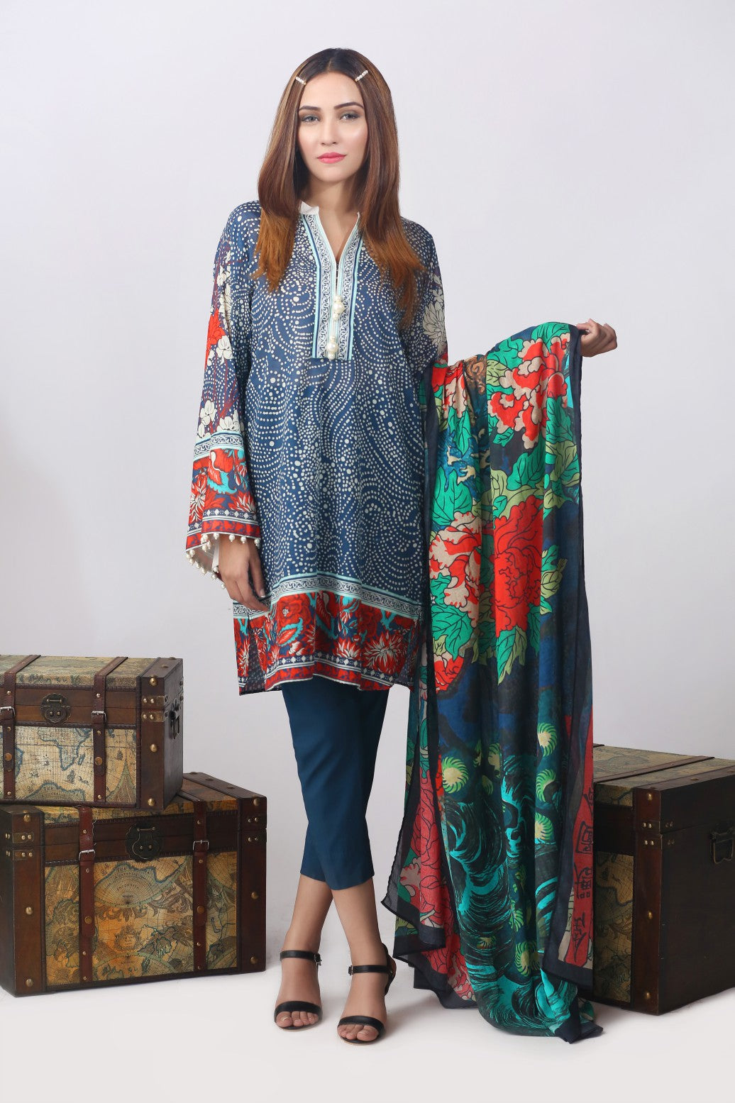 Alkaram Studio - Navy 2 Piece Digital Lawn Suit Clearance Sale