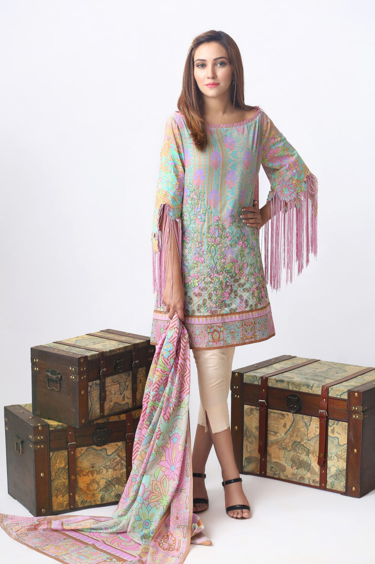 Alkaram Studio - Pink 2 Piece Embroidered Lawn Suit