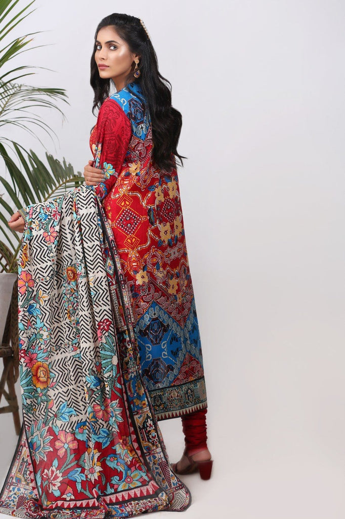 Alkaram Studio - Red 2 Piece Embroidered Lawn Suit Clearance Sale