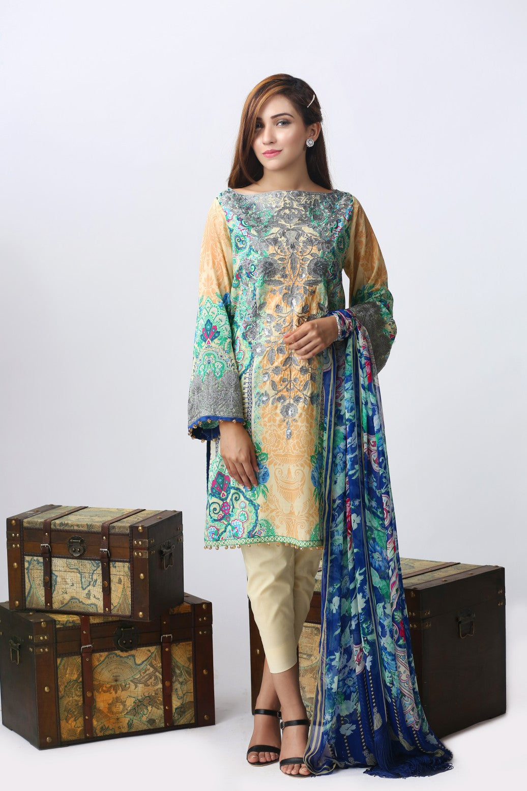 Alkaram Studio - Beige Luxury Embroidered Suit Clearance Sale