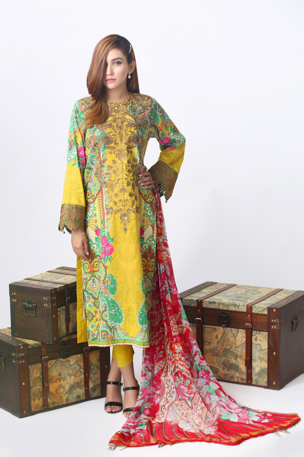 Alkaram Studio - Olive Luxury Embroidered Suit Clearance Sale