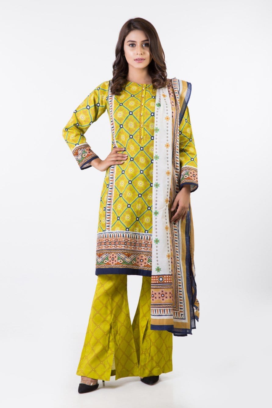 Bonanza Satrangi - L-YELLOW L-Yellow-Cotton-Suit