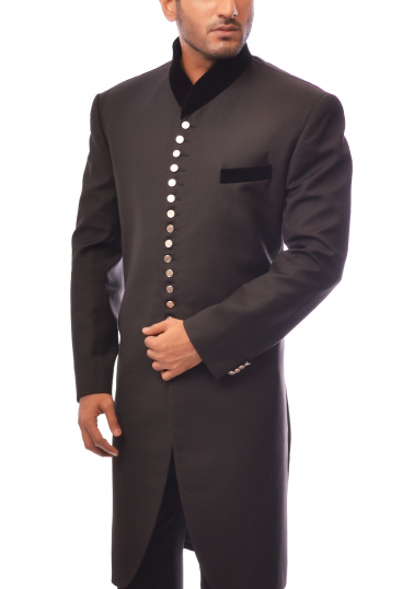 Amir Adnan - Black Suitting Sherwani