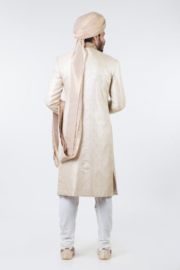 Bonanza Satrangi - Golden Sherwani Suit (With Quilla & Khussa)