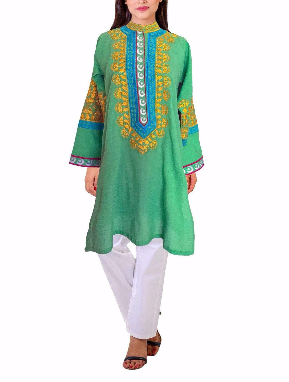 Sanam Chaudhri - Green Embroidered Azadi Cotton kurta