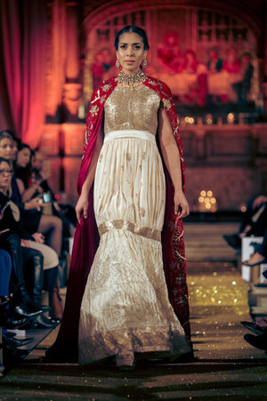 Seher Tareen - Trailing Red Velvet Cape With Lehnga & Blouse