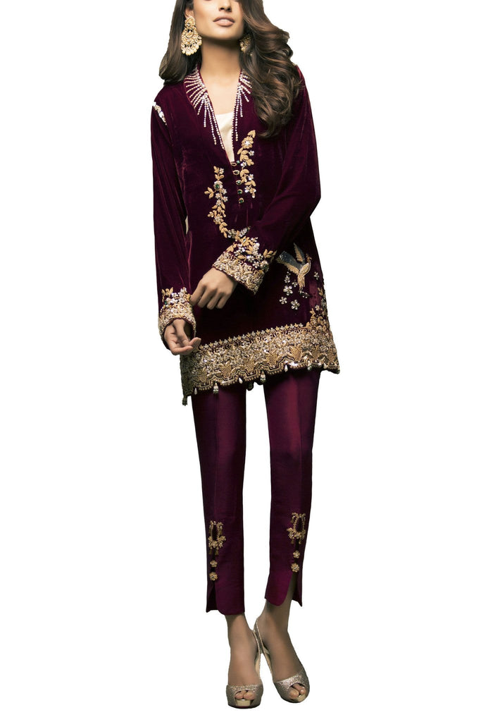 Sania Maskatiya - Hand Embroidered Luxurious Velvet Shirt