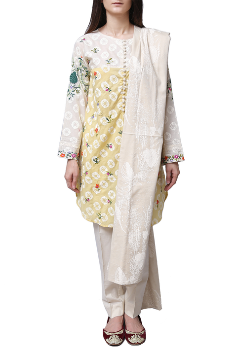 Generation - Off White Cotton Embroidered Cottage Suit