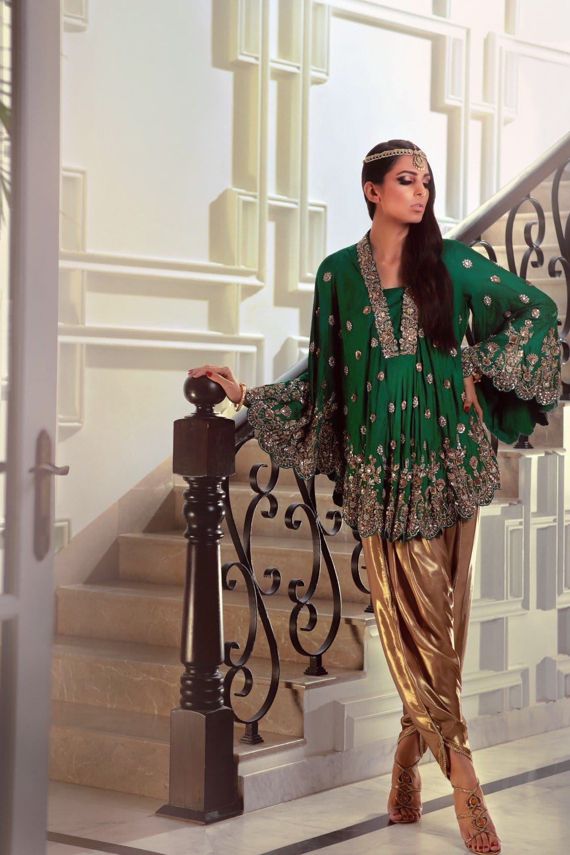 Maheen Karim - Emerald Bias Cut Tunic With Pants