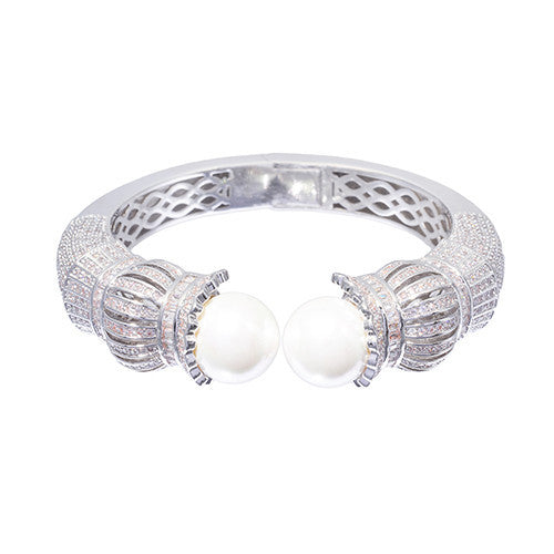 Amishi - Classical Silver Pearl & Crystal Bracelet
