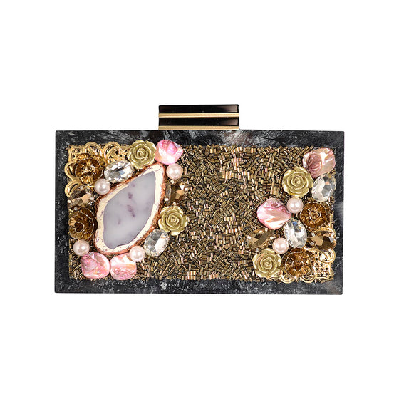 Amishi - Crystal Embellished Box Clutch
