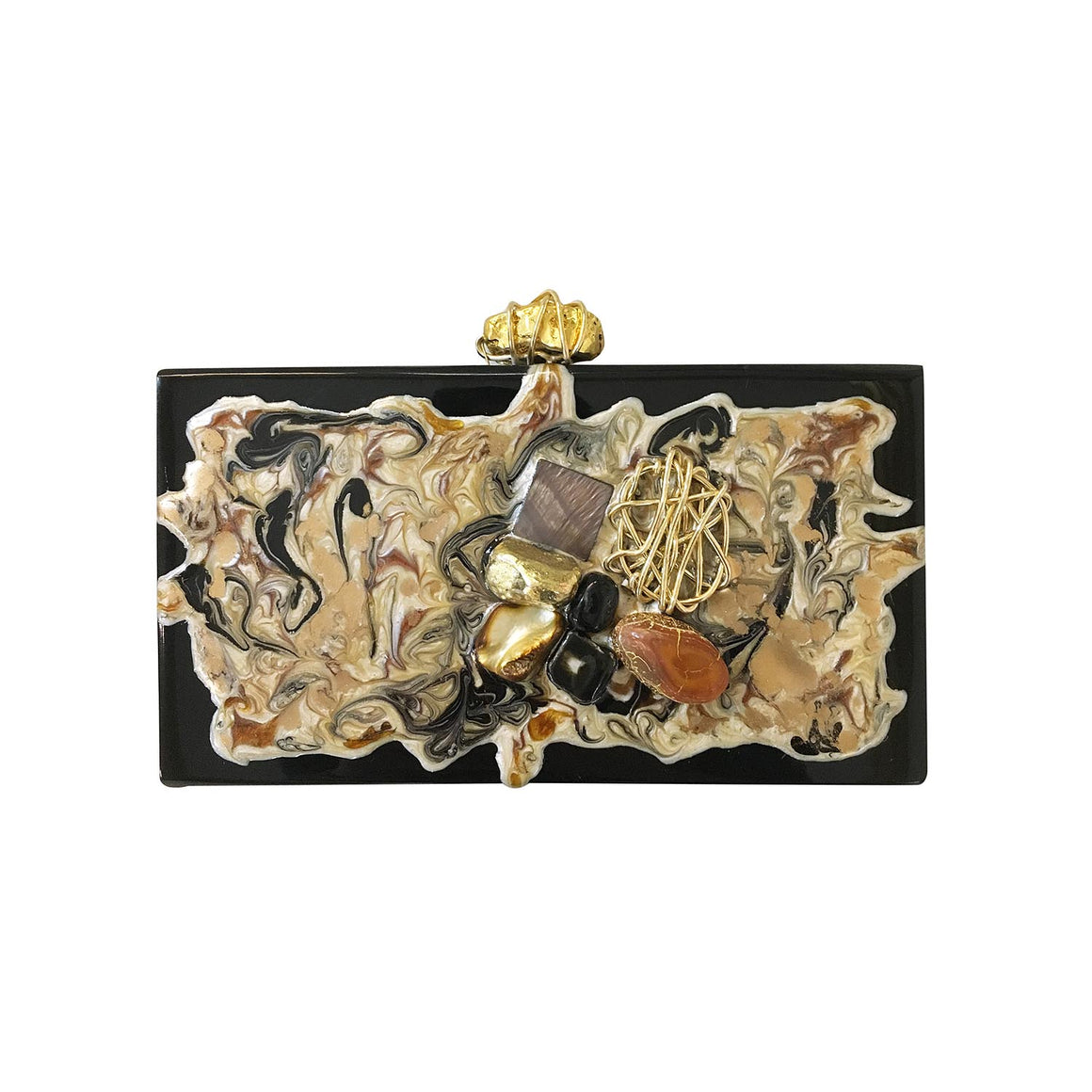 Amishi - Black Crystal Embellished Box Clutch