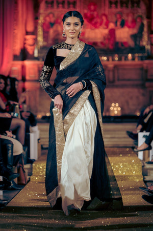 Seher Tareen - Black Organza Hand Worked Sari With Silk Lehnga & Blouse