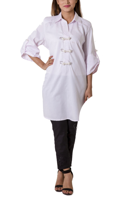 Mehreen Noorani - The Last Petal Icy Pink Cotton Collared Tunic