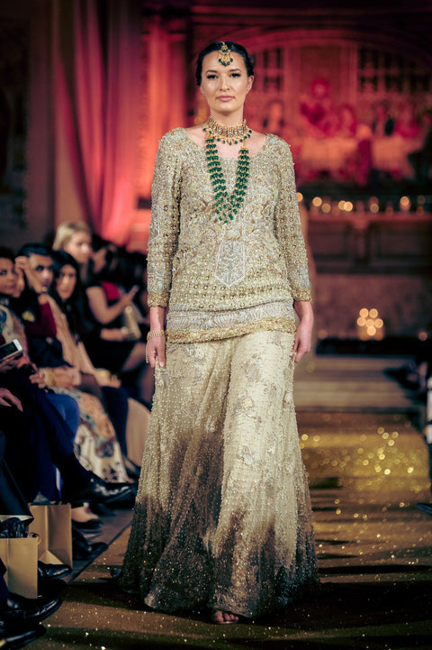 Rani Emaan - Net Shive Dress With Sharara  - The mint Ice