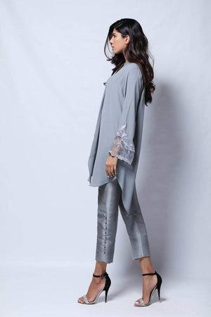 Natasha Kamal - Tia Layered Tunic With Embroidered Organza Insert Sleeves With Raw Silk Trouser