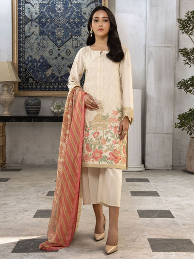 LimeLight - Beige Embroidered Lawn Suit - 3 PC