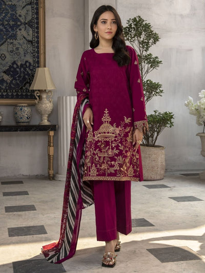 LimeLight - Maroon Embroidered Lawn Suit - 3 PC