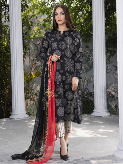 LimeLight - Black  Printed Lawn Suit - 3 PC