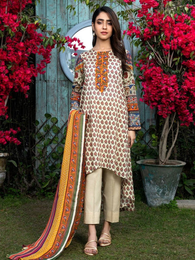 LimeLight - Beige Printed Lawn Suit - 3 PC