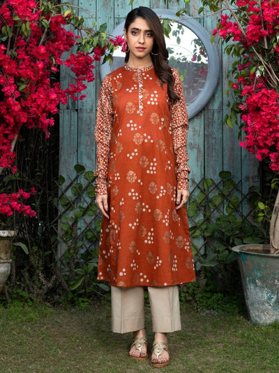 LimeLight - Orange Printed Lawn Shirt - 1 PC