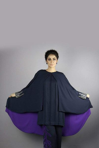 Urooj Fahd - Navy Blue Pintex Top With Cave - 2 PC