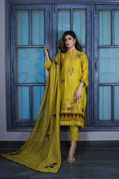Urooj Fahd - Mustard Cotton Net Shirt - 3 PC