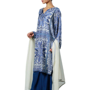 Rizwan Beyg - Tile Inspired Embroidery On Blue Cotton-Net Kali Shirt with Dupatta
