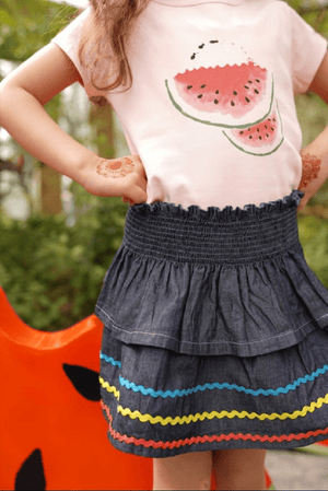 Hummingbirds - Dark Blue Denim Skirt