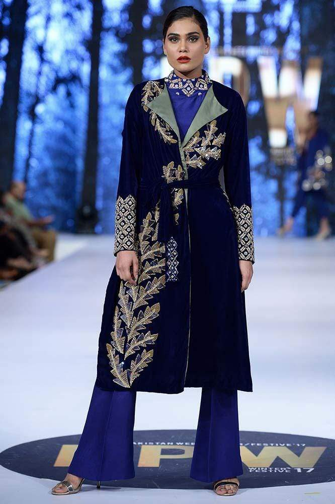 Sanam Chaudhri - Cobalt Blue Hand Worked Velvet Coat With Pants