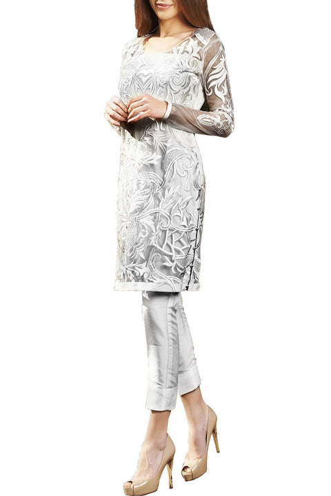 Natasha Kamal - Grey Valenza Shirt With Raw Silk Pants & Dupatta